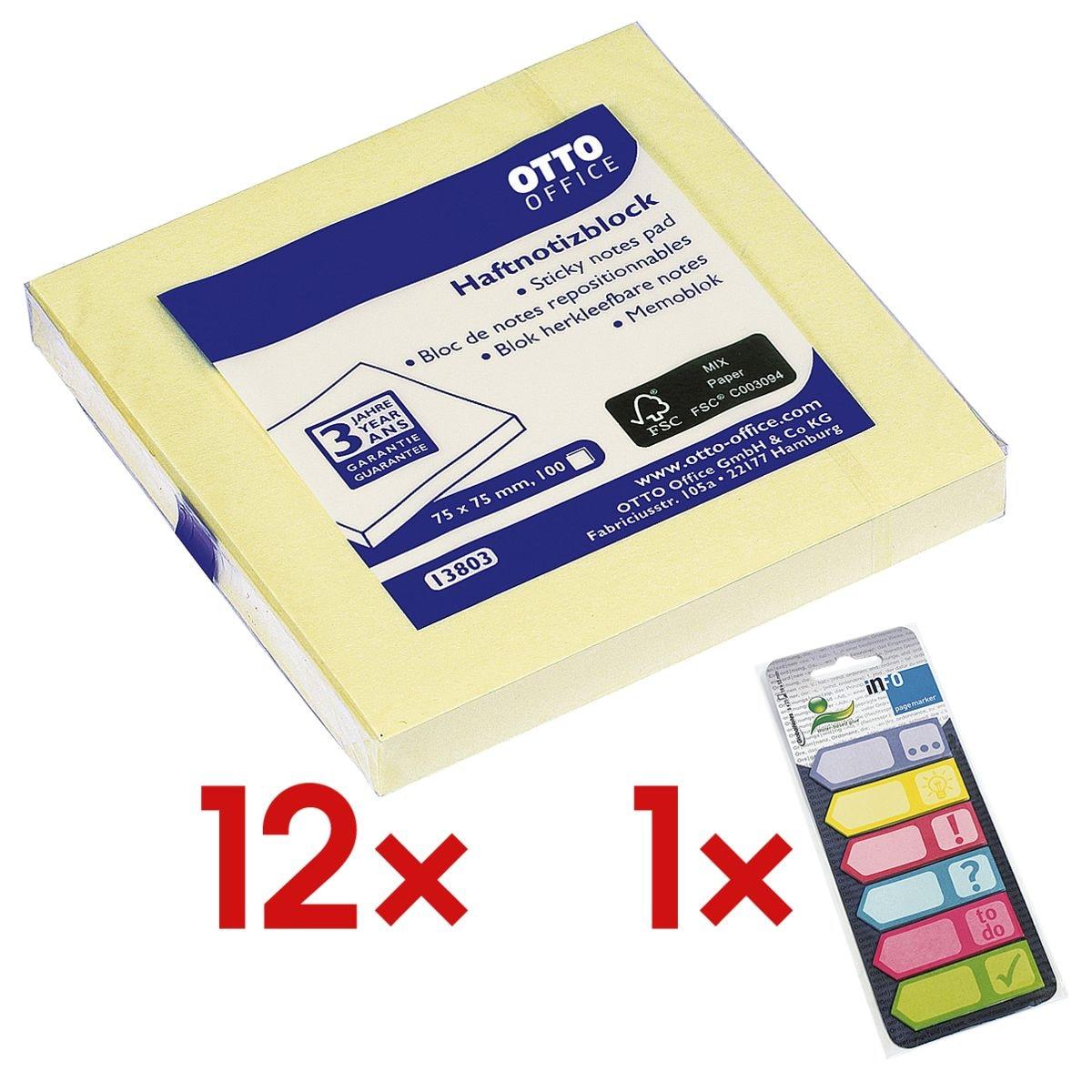 12x OTTO Office bloc de notes repositionnables 7,5 x 7,5 cm, 1200 feuilles au total, jaune avec Marque-pages 150 feuilles, papier, 50 x 18 mm