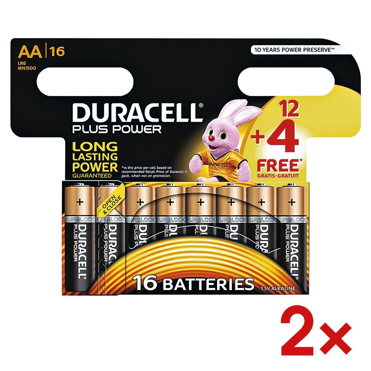 Duracell 2x paquet de 16 piles « Plus » Mignon / AA 12+4 Promo