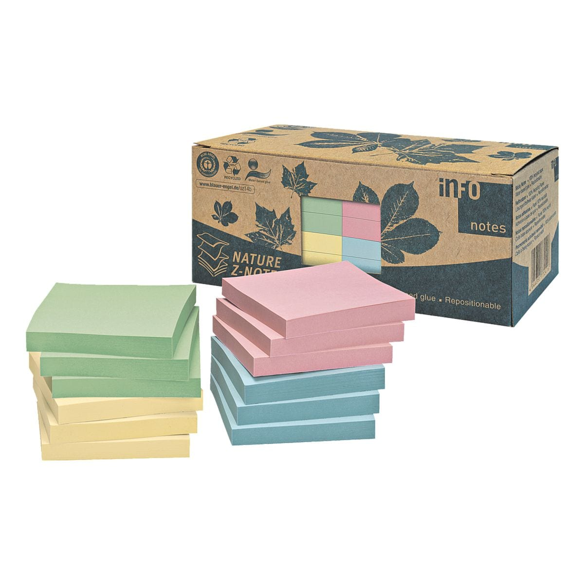 inFO lot de notes repositionables Recycling Z-Notes 7,5 x 7,5 cm, 1200 feuilles au total, couleurs assorties