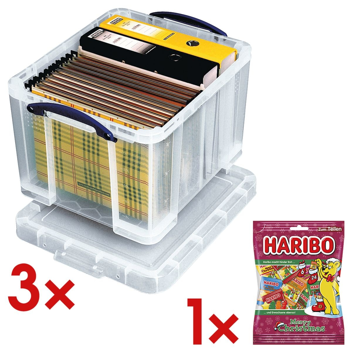 Really Useful Box 3x boîte de rangement 35 litres avec 1x bonbons gélifiés « Christmas Minis »