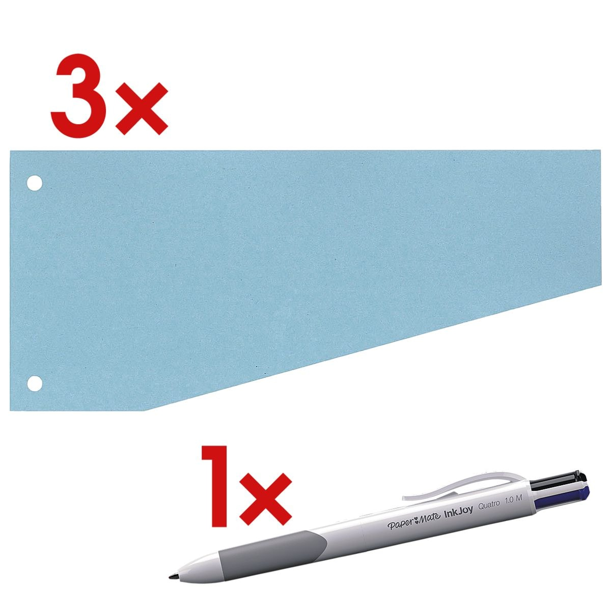 Bandes intercalaires OTTO Office Nature, carton recyclé trapèze 24/10,5 cm, 300 pièce(s), avec Stylo-bille 4 couleurs « Inkjoy™ Quatro »