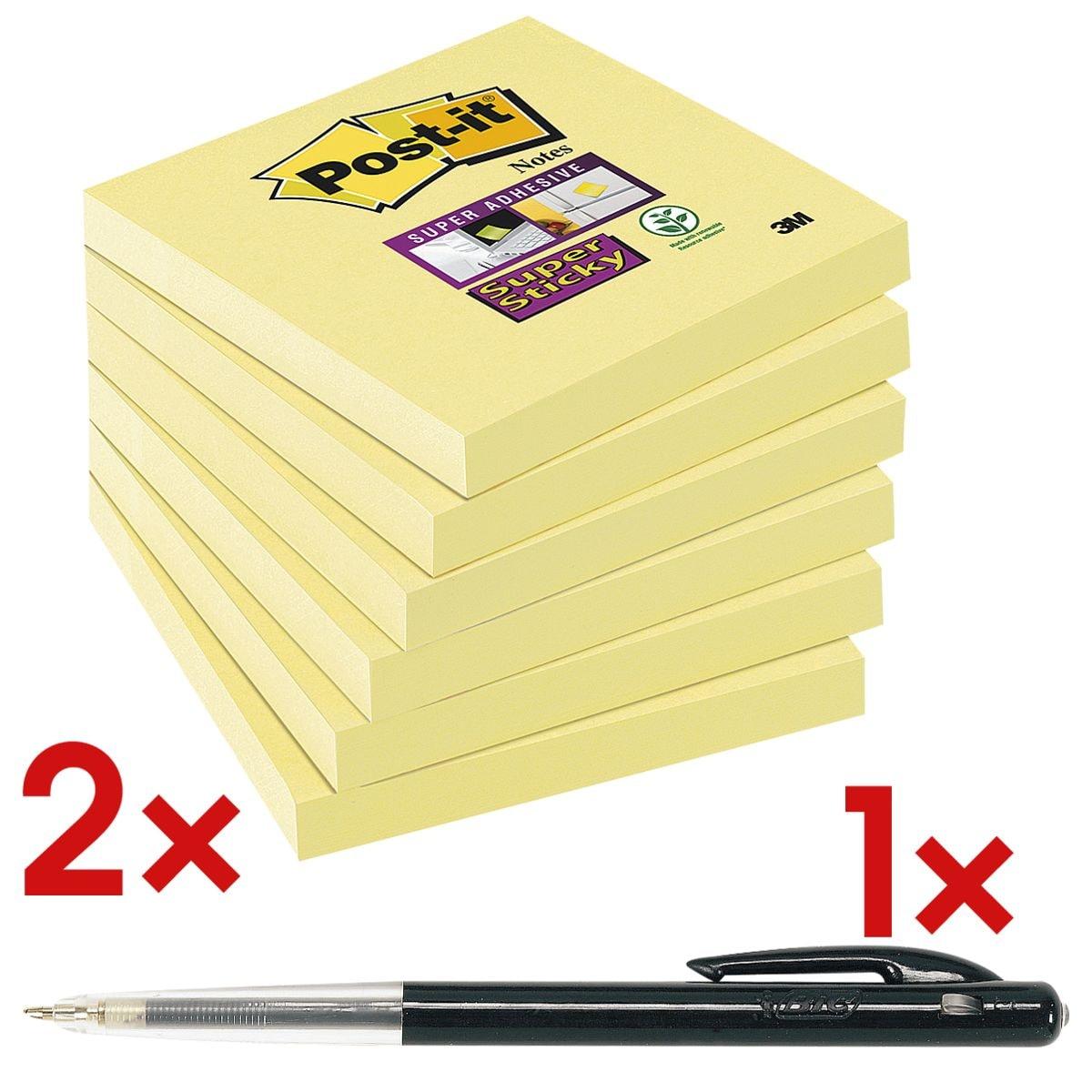 12x Post-it Super Sticky bloc de notes repositionnables Notes 7,6 x 7,6 cm, 1080 feuilles au total, jaune avec Stylo-bille rétractable « M10 »