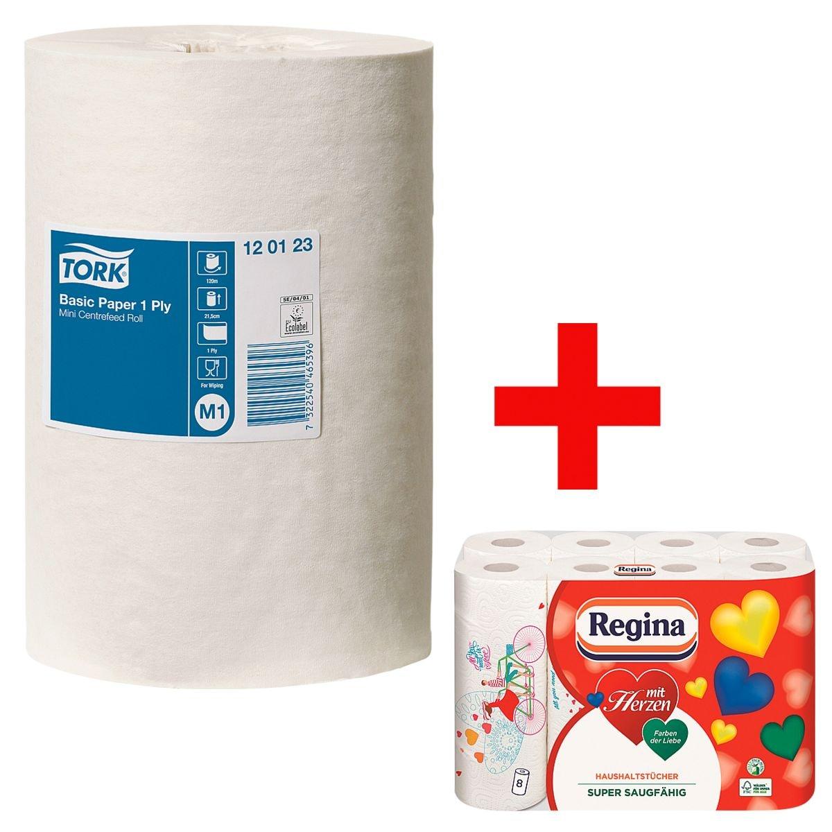11 bobines d'essuie-mains papier blanc épaisseur simple (blanc, non perforé, 21,5 cm x 120 m) avec rouleaux d'essuie-tout