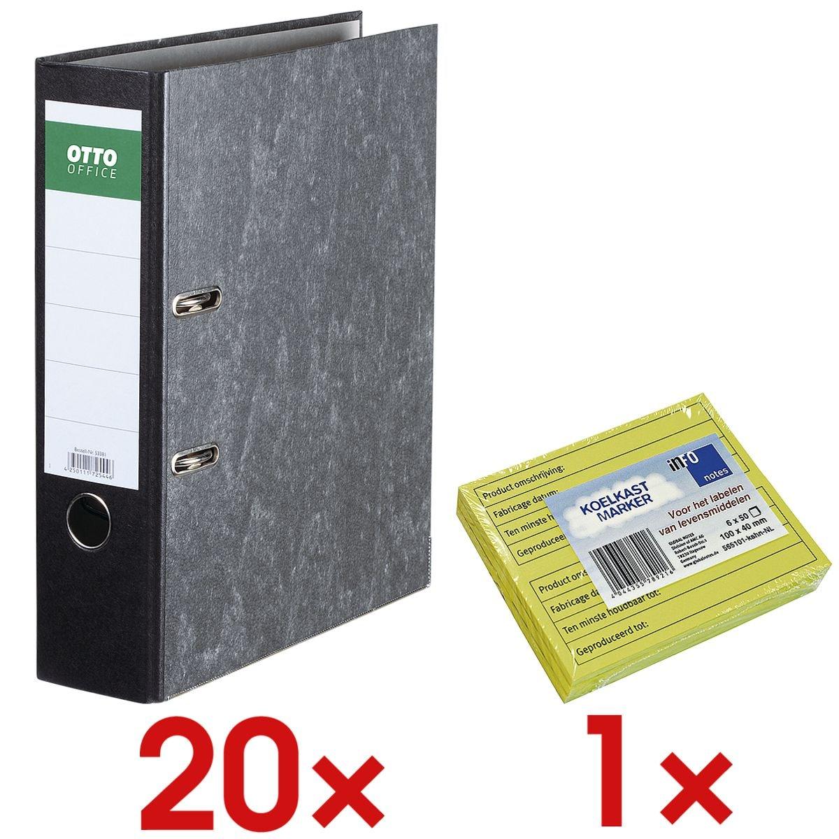 20x Classeur A4 OTTO Office Classic large, papier marbré nuages avec Bloc de notes repositionnables « Notes réfrigérateur » avec inscriptions en néerlandais