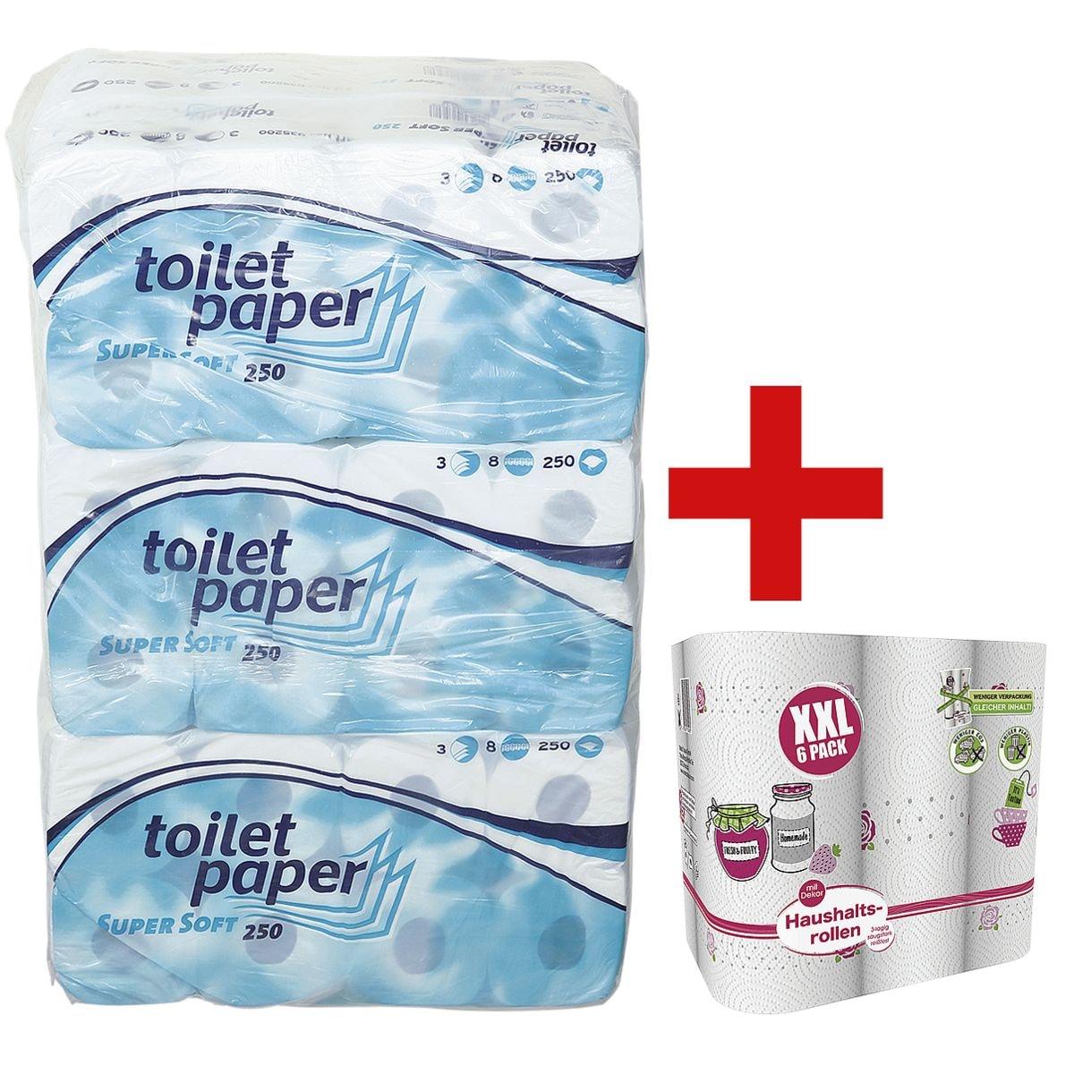 wepa papier toilette 3 épaisseurs, blanc - 72 rouleaux (9 paquets de 8 rouleaux) avec 6 rouleaux d'essuie-tout triple épaisseur en « Big Pack » XXL