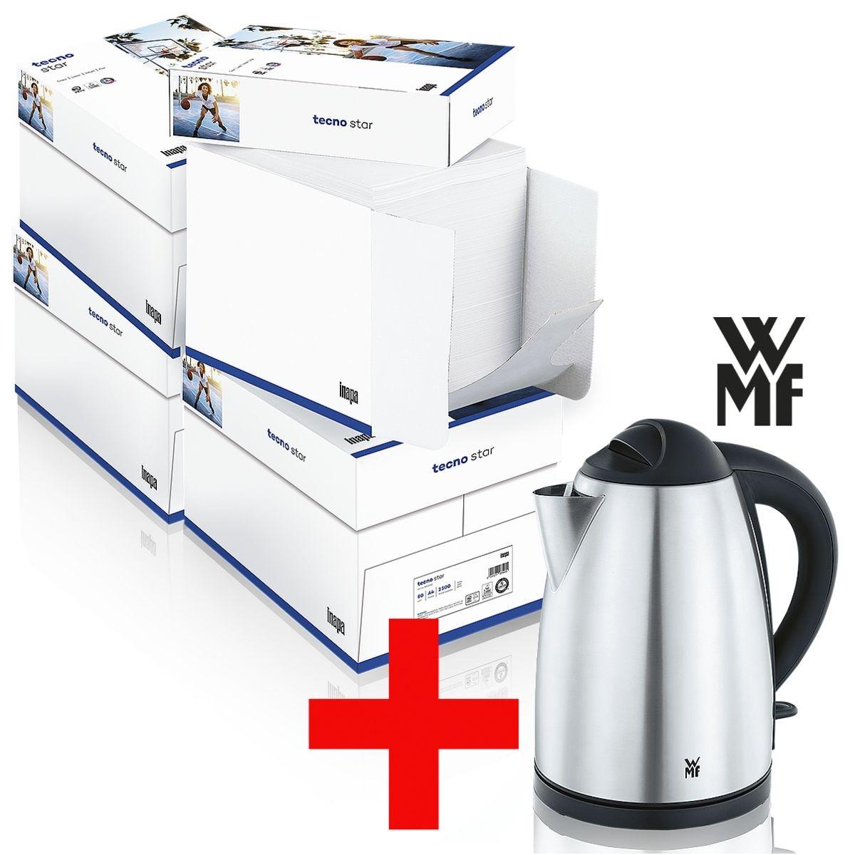 4x Boîte-éco de papier photocopieur A4 Inapa tecno Star - 10000 feuilles au total, 80g/m² avec Bouilloire « Bueno » 1,7 l