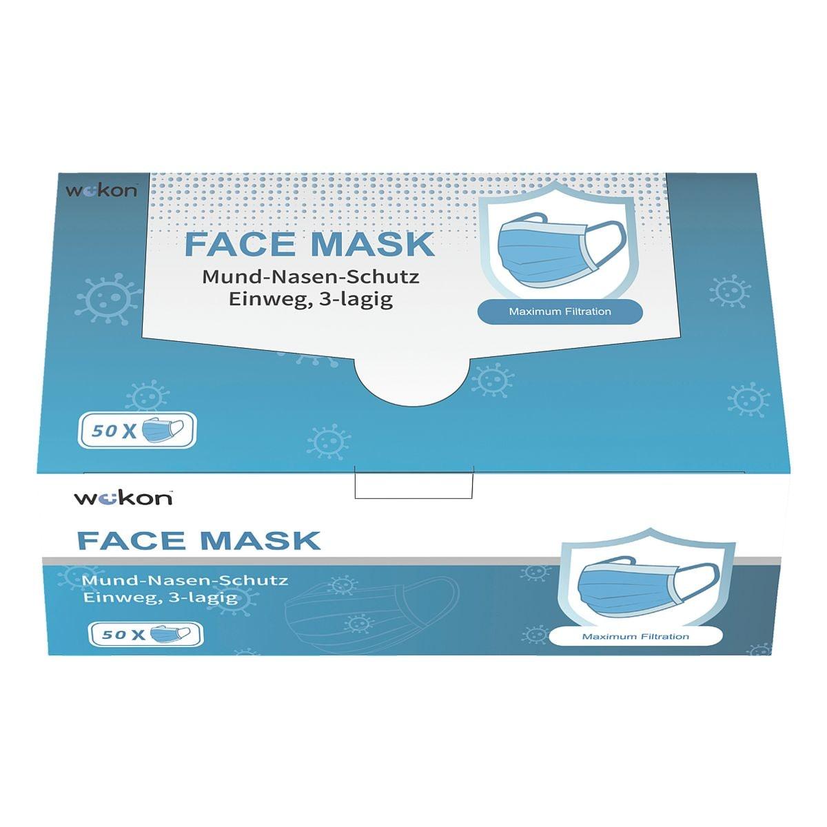 Paquet de 50 masques respiratoires triple épaisseur à usage unique