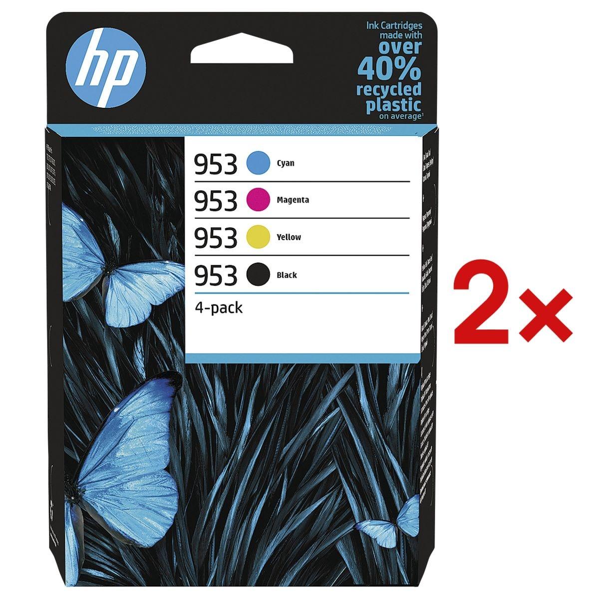 HP 2x Lot de cartouches jet d'encre HP 953 CMYK Multipack, cyan, magenta, jaune, noir - 6ZC69AE