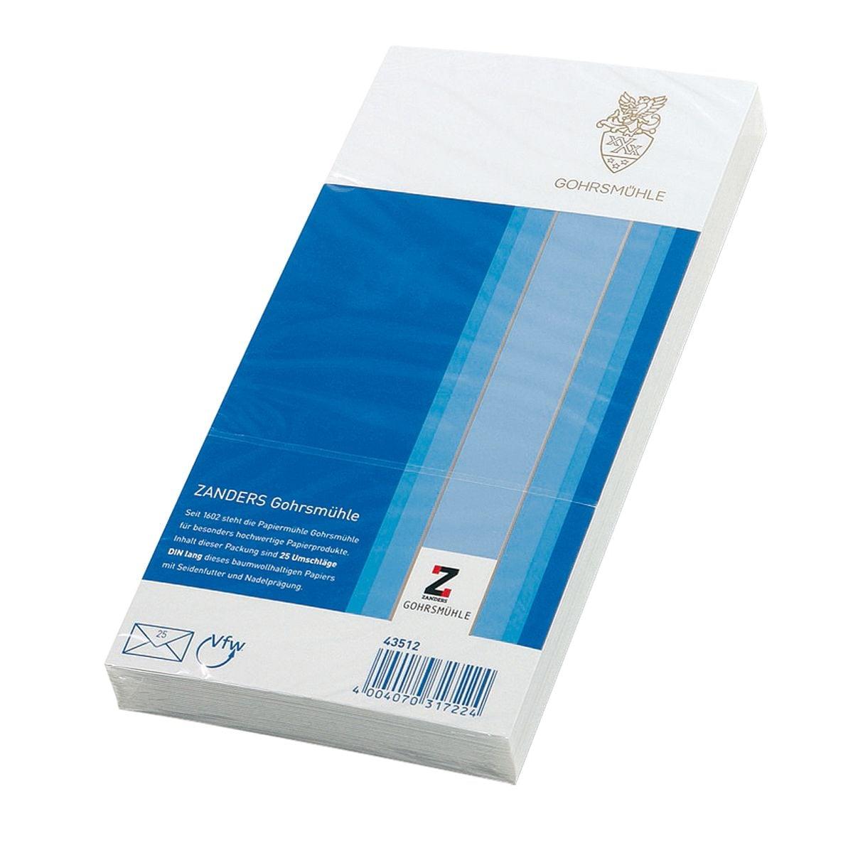 enveloppes Zanders Gohrsmühle, DL 80 g/m² sans fenêtre, fermeture à patte gommée - 25 pièce(s)