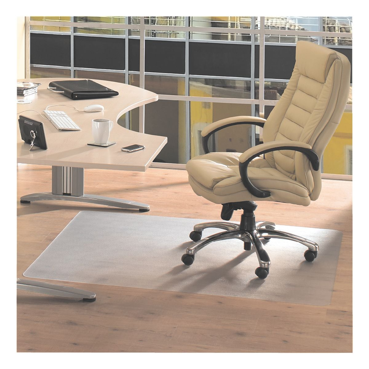 plaque protège-sol pour sols durs, vinyle, rectangulaire 120 x 150 cm, Floortex Plaque protège-sol vinyl