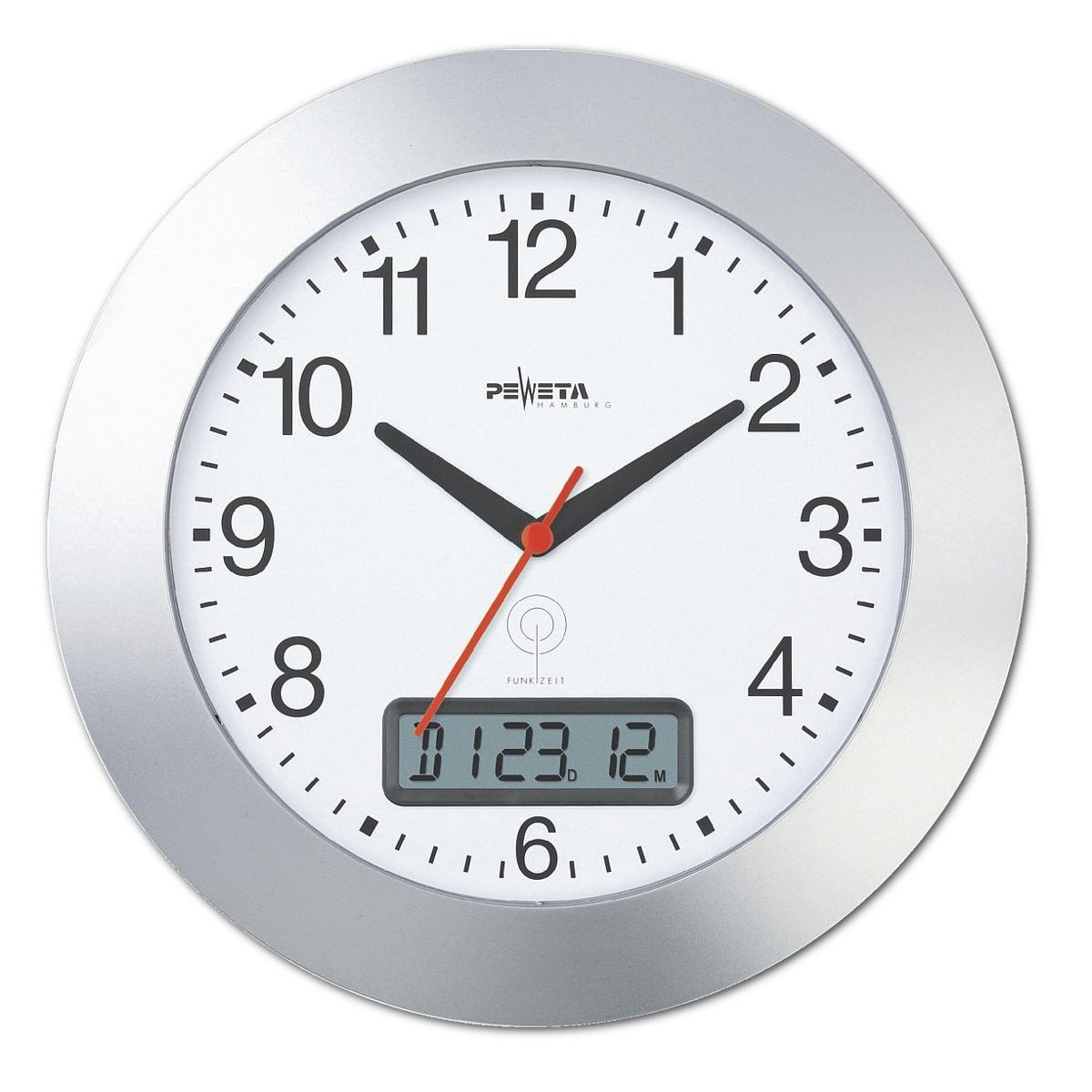 peweta uhren horloge murale radioguid e avec affichage num rique acheter prix. Black Bedroom Furniture Sets. Home Design Ideas