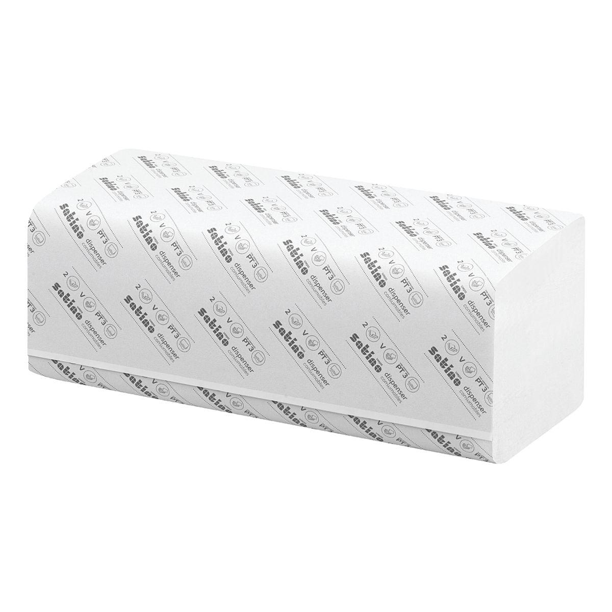 Essuie-mains en papier Satino comfort 2 épaisseurs, blanc nature, 25 cm x 23 cm de Ouate de cellulose avec pliage en Z - 3200 feuilles au total