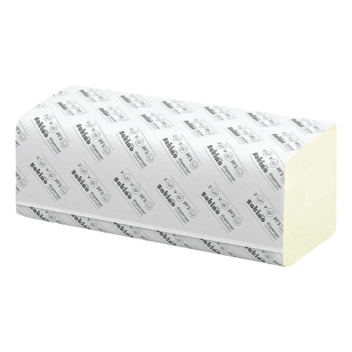 Essuie-mains en papier Satino comfort 2 épaisseurs, vert, 25 cm x 23 cm de Ouate de cellulose avec pliage en Z - 3200 feuilles au total