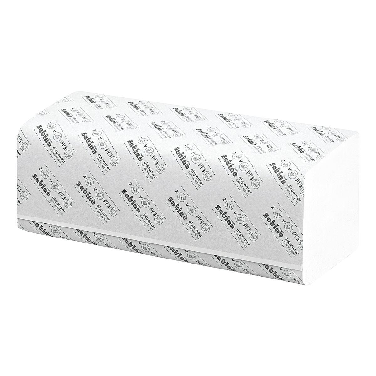Essuie-mains en papier Satino comfort 2 épaisseurs, blanc, 25 cm x 23 cm de Ouate de cellulose avec pliage en Z - 3200 feuilles au total