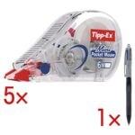 5x Tipp-Ex Roller de correction jetable Mini Pocket Mouse, 5 mm / 6 m, avec Stylo-bille « 4 Colours Grip Pro »