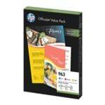 HP Value Pack : Lot de cartouches jet d'encre HP 963, cyan, magenta, jaune - 6JR42AE avec 25 Blatt Inkjet Papier & 100 Blatt ColorChoice Papier
