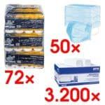 OTTO Office Premium papier toilette « Premium » 4 épaisseurs, blanc - 72 rouleaux (9 paquets de 8 rouleaux) avec Essuie-mains en papier + Paquet de 50 masques médicaux type II « Hygostar », triple épaisseur, bleu