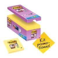 14+2 Post-it Super Sticky bloc de notes repositionnables Notes 7,6 x 7,6 cm, 1440 feuilles au total, jaune