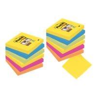 9+3 Post-it 7,6 x 7,6 cm lot avantageux Super Sticky « Rio de Janeiro » bloc de notes repositionnables, 1080 feuilles au total, couleurs assorties 654SR9+3