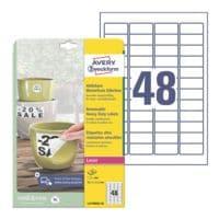 Avery Zweckform Étiquettes film résistantes aux intempéries 45,7x21,2 mm « L4778REV-20 » redécollables