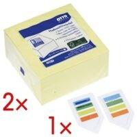 OTTO Office 2x bloc cube de notes repositionnables jaune 75x75 mm 400 feuilles avec 1x 2 paquets de marque-pages « Lesezeichen »