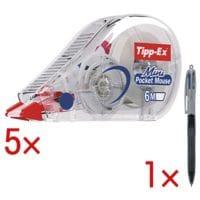 5x Tipp-Ex Roller de correction jetable Mini Pocket Mouse, 5 mm / 6 m avec Stylo-bille « 4 Colours Grip Pro »