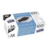 100 Papstar gants jetables Latex, Taille M noir
