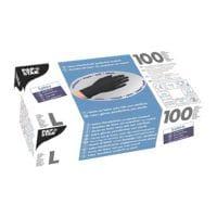 100 Papstar gants jetables Latex, Taille L noir