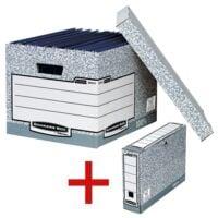 Bankers Box System Paquet de 10 caisses à archive avec paquet de 10 boîtes à archives