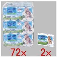 wepa Mach mit… papier toilette Mach mit...! 3 épaisseurs, blanc - 72 rouleaux (9 paquets de 8 rouleaux) avec 2x Rouleaux d'essuie-tout triple épaisseur, 4 rouleaux