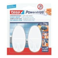 tesa Powerstrips « crochets larges » ovales et blancs 58013