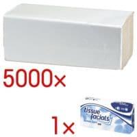 Essuie-mains en papier OTTO Office Budget Budget simple épaisseur, blanc nature, 25 cm x 23 cm de Papier recyclé avec pliage en Z - 5000 feuilles au total avec 100 mouchoirs