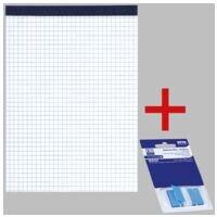 10x OTTO Office bloc-notes, A5, à carreaux, 50 feuille(s) avec Marque-pages 43 x 25 mm