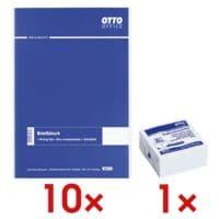 10x OTTO Office bloc de correspondance, ligné, 500 feuille(s) avec Bloc cube de notes repositionnables blanc 75x75 mm 400 feuilles