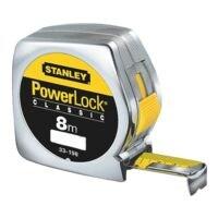 STANLEY Mètre ruban « Powerlock » 8 m avec boîtier en plastique chromé