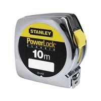 STANLEY Mètre ruban « Powerlock » 10 m avec boîtier en plastique chromé
