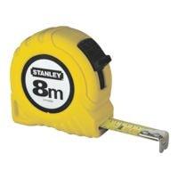 STANLEY Mètre ruban « Powerlock » 8 m avec boîtier en plastique jaune