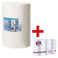 11 bobines d'essuie-mains papier extra blanc double épaisseur (extra blanc, perforé, 21,5 cm x 75 m) avec papier toilette « Big Pack »