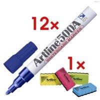 Artline 12x marqueur pour tableau blanc « 500A » avec 1x éponge pour tableau blanc