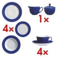 Ritzenhoff & Breker Service de table « Doppio », comprend : 4 assiettes plates, 4 tasses à café avec 4 soucoupes, 4 assiettes à desert, 4 assiettes à soupe, sucrier et crémier