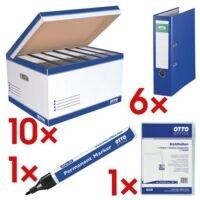 OTTO Office 10 cartons à couvercle rabattable « big » avec 6x classeur « Exclusive I » + 1x marqueur permanent et 1x chemises transparentes « Standard »