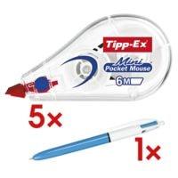 5x Tipp-Ex Roller de correction jetable Mini Pocket Mouse, 5 mm / 6 m avec Stylo-bille 4 couleurs « 4 Colours »