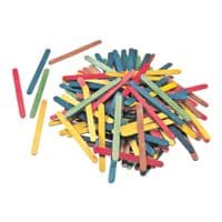 folia Paquet de 500 bâtonnets en bois, couleurs assorties