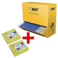 100x Stylo-bille BIC M10, convient aux documents officiels avec Bloc de notes repositionnables « Notes réfrigérateur » avec inscriptions en français + Bloc de notes repositionnables « Notes réfrigérateur » avec inscriptions en néerlandais