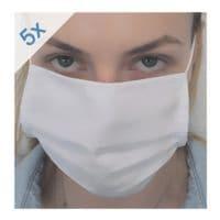 Paquet de 5 masques respiratoires - lavables, simple épaisseur, mélange coton-polyester