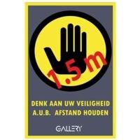 GALLERY Autocollant d'avertissement « Veuillez garder une distance d'1,5 m », A5, néerlandais