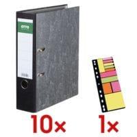 10x Classeur A4 OTTO Office Classic large, papier marbré nuages avec Marque-pages « Universal », différents formats