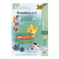 folia Lot de papier cartonné et carton photo « Kreativpack » 23 x 33 cm - 25 couleurs (50 feuilles)