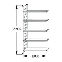 Rayonnage d'entrepôt « M2 5 NC » 100 cm de largeur, 50 cm de profondeur
