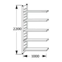 Rayonnage d'entrepôt « M2 5 NC » 100 cm de largeur, 60 cm de profondeur